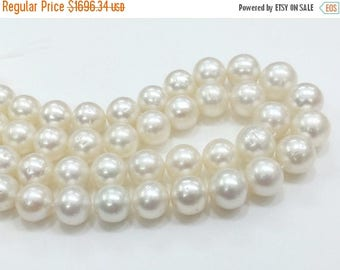 ON SALE 55% White South Sea Pearls, Natural Pearls, Original South Sea Pearls Non Treated Round Balls, 10-13mm, 16 Inch Strand, 30 Pcs