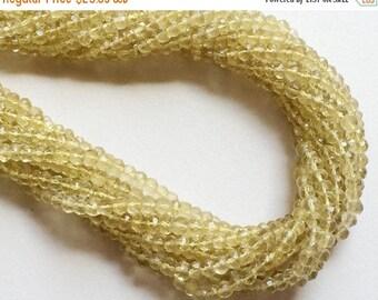 ON SALE 55% Lemon Quartz Beads, Lemon Quartz Micro Faceted Rondelle Beads, Lemon Yellow Beads, Lemon Quartz Necklace Size 3-4mm, 13 Inch Str