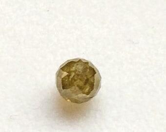 ON SALE 55% Yellow Green Faceted Diamond Balls, Natural Diamond, Raw Diamonds, Faceted Diamond Beads, Round Balls Bead, 1 Pc