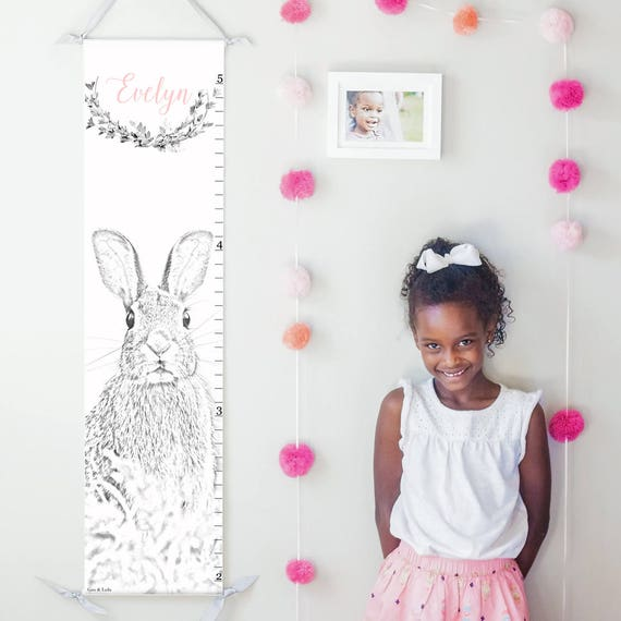 Personalized bunny rabbit canvas growth chart
