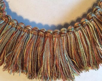 Brush FRINGE in copper browns blues golds 2 inch