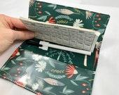 Green Duplicate Checkbook Cover Register -  Duplicate Checkbook Reigster Fabric Checkbook Cover Wild Gatherings in Spruce Green