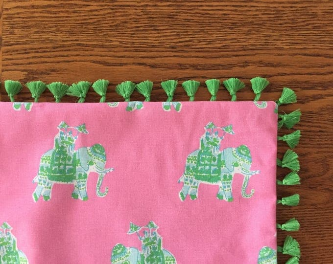 Custom Made Lilly Pulitzer Bazaar in Tiki Pink Table Throw with Fringe Tassels, Tablecloth 50 x 50,  FREE SHIPPING