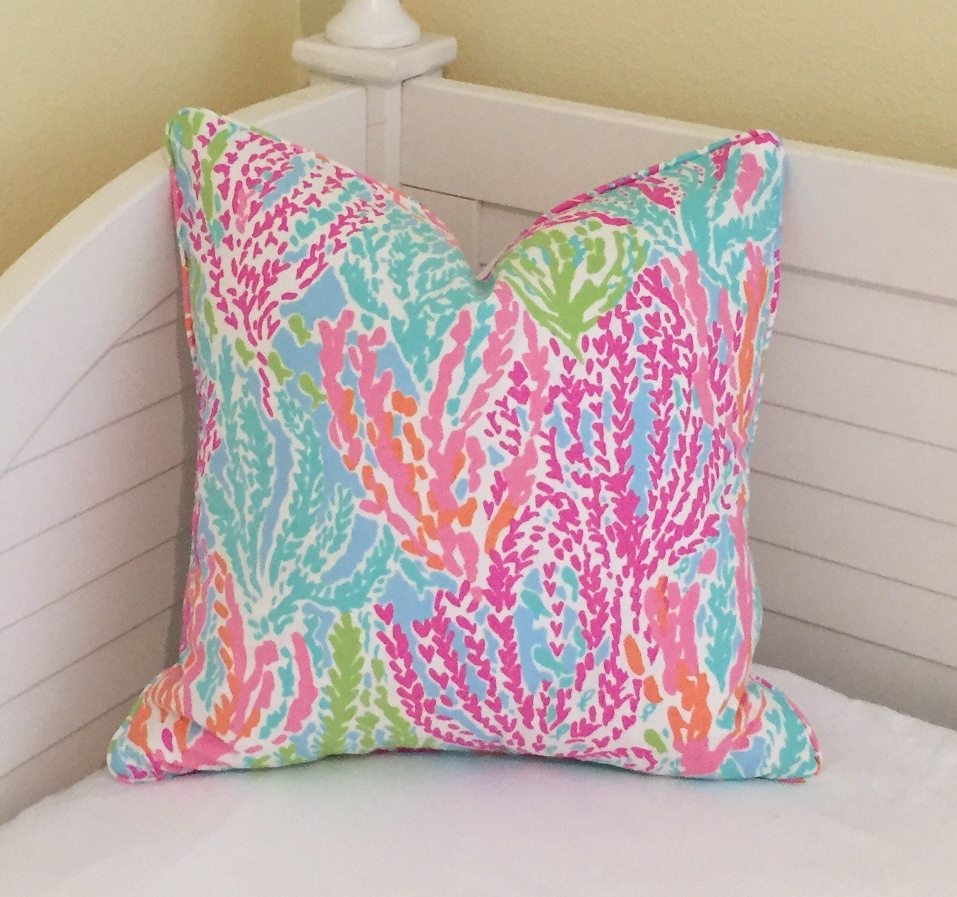 lilly pulitzer letu0027s cha cha in tikishorely blue designer pillow cover with self welting square euro and lumbar sizes