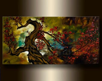 HUGE Asian Blossoms Original Asian Zen Art Modern Flower Canvas Oil Painting 30X60 oversized by Willson Lau