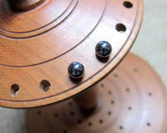 Haematite Sterling Silver 4mm Ball Stud Earrings - Hematite studs balls posts