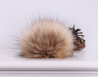 Golden Lynx Faux Fur Pompom.  Faux Fur Pompoms.  Brown Fur Pompom.  Fur Pompom for Hat.  Faux Fur Pom. Fur Pompoms.