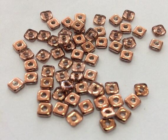 Czech Quad Beads Crystal Capri Gold 5g (approx 110 beads)
