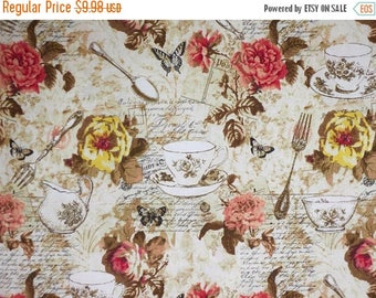 ON SALE Charming Beige and Coral Afternoon Tea Collage Print Pure Cotton Fabric--By the Yard