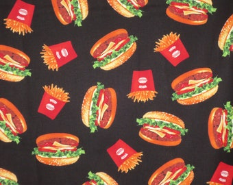 Fun Tossed Hamburgers and Fries on Black Print Pure Cotton Fabric--By the Yard