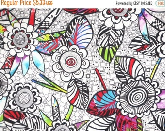ON SALE SPECIAL--Black and White with Brights Graphic Anything Goes Allover Print Pure Cotton Fabric--By the Yard