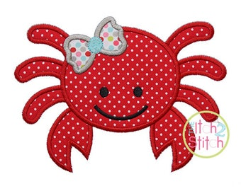 Girly Crab Applique Design (fonts NOT included) In Hoop Sizes 4x4, 5x7, and 6x10 INSTANT DOWNLOAD now available