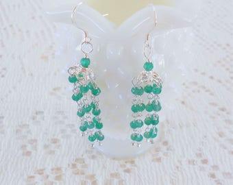 Green Onyx Earrings, Tassel Earrings, Gypsy Bohemian Earrings, Onyx Earrings, Sterling Silver Earrings, Jhumka Earrings, Long Dangle Earring