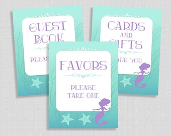 Mermaid Shower Signs Package, Aqua and Purple Shower Table Signs, Printable 3 Sign Bundle, Party Signs, INSTANT DOWNLOAD