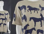 WILD HORSES 90's Horse Silhouette T-Shirt Horse Print Novelty Tee