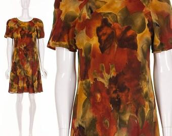 90's BABY DOLL Dress Abstract WATERCOLOR Dress Floral Dress Batik Dress 90's Grunge Dress Drew Barrymore Dress Small Medium