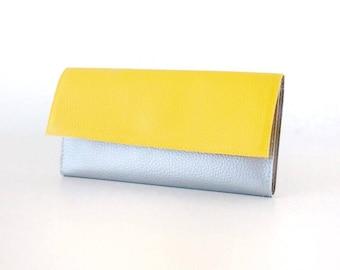 Cash envelope wallet, Womens wallet leather, vegan leather wallet woman, coin wallet, Yellow wallet women, slim wallet women, gift for mom