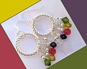 Colorful Hoop Earrings, Silver Filled Earrings, Festive Rainbow Earrings, Funky Gypsystyle Jewelry, Crystal Earrings, Gift for Her 2in