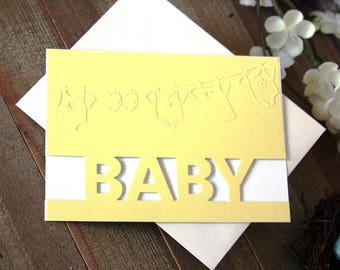 Handmade Yellow Baby Card Embossed and Handcut, Clothesline, Baby Clothes, Blank Inside, Free US Shipping