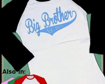 FLASH SALE Big Brother Shirt - Big Brother Est. Raglan Shirt BLUE Lettering Swoosh design with Year 2016 2017 Family Announcement TShirt lon
