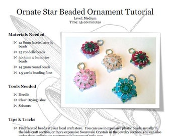 Ornate Star Beaded Ornament Tutorial: PDF Download