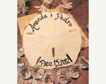 Wedding Sale Handwritten Calligraphy Beach Wedding Favors Sand Dollars with Bride and Grooms Name, and Wedding Date- Other Options Avail
