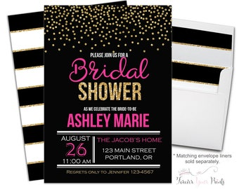 Bridal Shower Invitation - Bridal Shower Invite - Brunch and Bubbly - Engagement Invitation - Engagement Invite - Hot Pink Bridal - Confetti