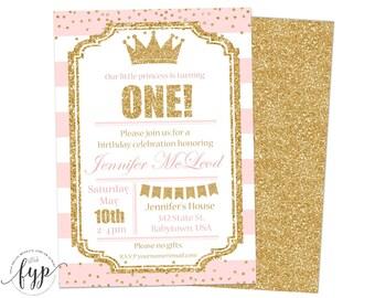 Princess Birthday Invitation Printable Girls 1st Birthday Invitation Princess Party Invite First Birthday Pink and Gold Glitter Confetti