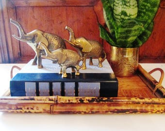 Set of Three Vintage Brass Elephants, Boho Chic, Hollywood Regency, Brass Decor, Coffee Table Decor