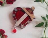 Luhrmann's Bleeding Heart Wearable Art Brooch by Winnifreds Daughter