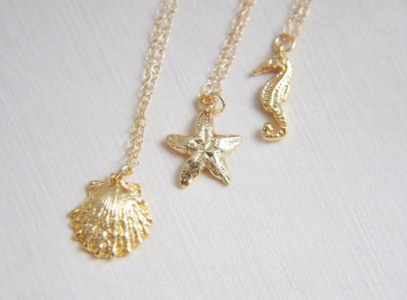 Sea Shell Necklace, Shell Necklace, Beach Necklace, Ocean Necklace, Nature Necklace, Seahorse Necklace, Starfish Necklace, Mermaid Necklace