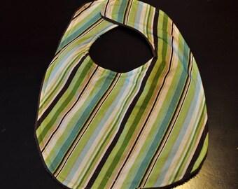 Striped Terry Cloth Baby Bib