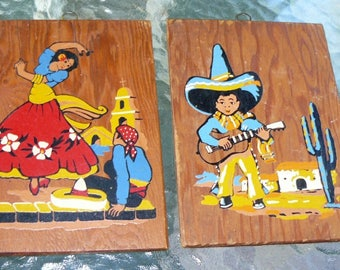 Vintage Oil Paintings Mexican Couple