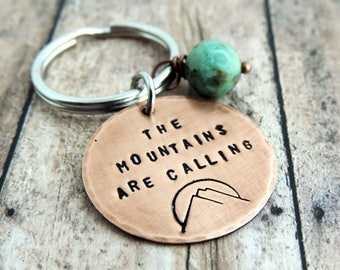 The Mountains are Calling Key Ring - Round Stamped Copper Keyring - Gift for Hiker - Nature Gift - Gift for Camper - Outdoor Lover