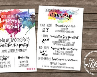 Mimosas and Mischief - Paintball Bachelorette Invitation - DIY Printing or Professional Prints available via Convo