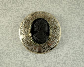 Black Cameo and Silver Filigree Brooch