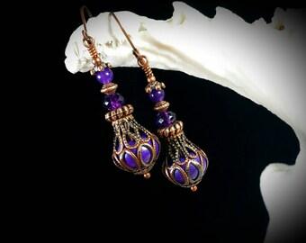 Purple Turquoise Copper Genie Bottle Earrings, Gothic Victorian Steampunk, Amethyst Jeannie Bottle Edwardian Dangle Drop Titanic Temptations