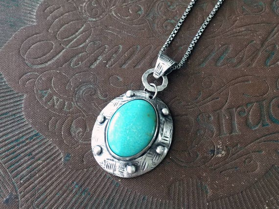 Silver Turquoise Necklace, Turquoise Pendant, December Birthstone, Silversmith Jewelry