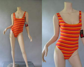 Striped Bodysuit - 80s Work Out Wear - High French Cut - Bold Colored Leotard - 1980s Dance Wear -New with Tags - by Soft Touch Size S