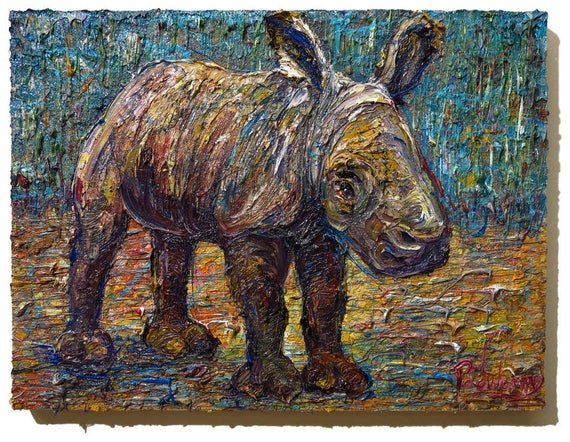 Oil Paint on Stretched Canvas of 24 by 18 by 1.5 in. / Original oil painting  rhino baby new born art abstract animal signed expressionism