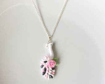 Peacock necklace in white, pink and silver handmade from polymer clay