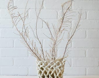 White Ceramic Basket, White Woven Basket, Summer Decor, White Planter, White Weave Planter, White Spring Decor, Spring Basket, White Planter