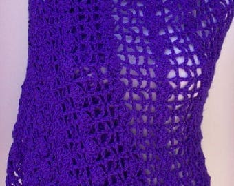 Purple Caron Wrap, Crochet Wrap, Handmade Shawl, Fashion Wrap, Lacy Wrap, Purple Crochet Shawl