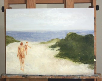 "Original painting on board summer wall art man and woman figures at beach landscape art ""13th. Street"""