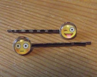 Emoji Smiley Happy Yellow Face Hair Slide Bobby Pins