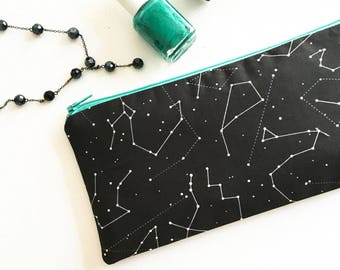 Zodiac Wedding, Constellation Cosmetic Bag, Celestial Zipper Pouch, Womens Zodiac Gift, Star Sign, The Stars Align, Black and White