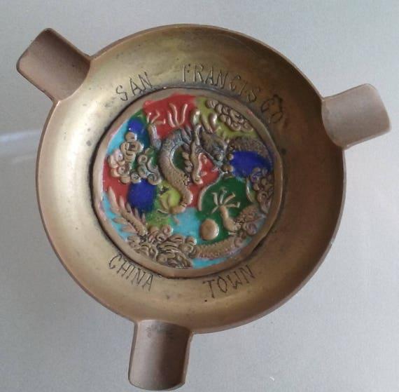 Brass Souvenir Ashtray from San Francisco China Town Vintage