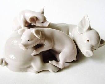 """Lladro Playful Piglets Figurine 7"""", Vintage 1983 Porcelain Mother Pig & Piglets 5228"""