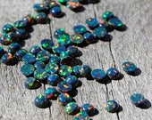 Black Opal Cabochon Lab Created Synthetic 4mm Round Stones - Flat Back Cabochons