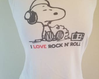 Snoopy altered tank top women's I love rock and roll